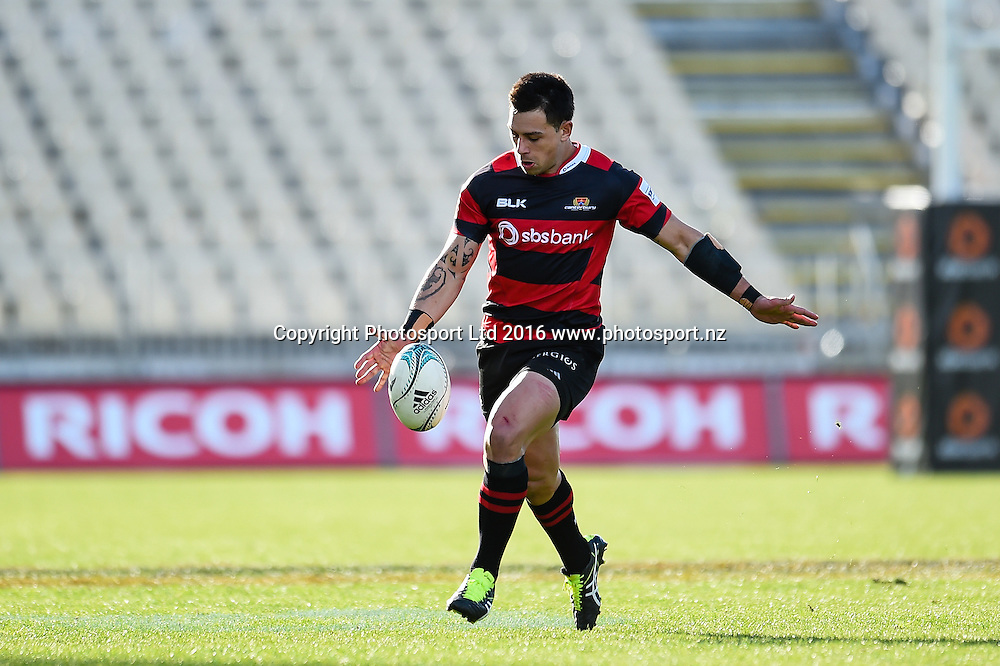 Rob Thompson of Canterbury kicks the ball during the Mitre 10 Cup Rugby Match, Canterbury V Tasman, AMI Stadium, Christchurch, New Zealand. 28th August 2016. Copyright Photo: John Davidson / www.photosport.nz