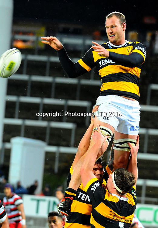 James Broadhurst   in action  during the  ITM cup rugby union match, Taranaki v Counties Manukau  played at yarrow Stadium, New Plymouth, New Zealand. Thursday 14th August 2014. <br /> Photo John Velvin/www.photosport.co.nz