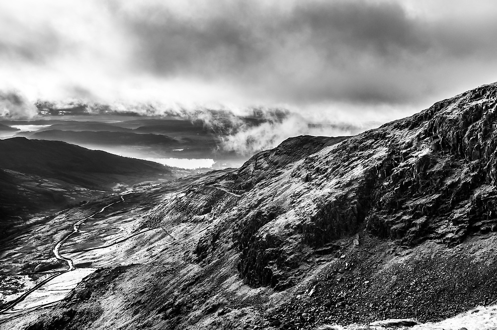 Kirkstone Pass inn and Windermere fells from Red Screes, Kirkstone Pass, Cumbria, the Lake District.