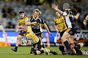TJ Perenara breaks a tackle during the Super Rugby match, Brumbies V Hurricanes, GIO Stadium, Canberra, Australia, 30th June 2018.Copyright photo: David Neilson / www.photosport.nz