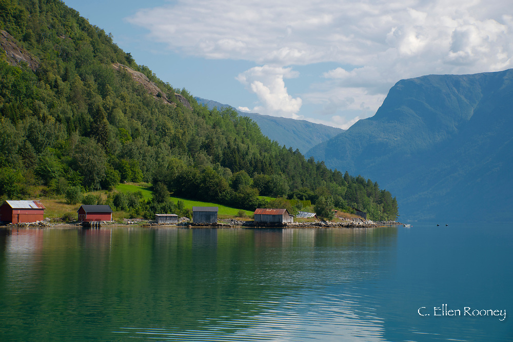 The view from a ferry leaving Solvay for Urnes on Sogne Fjord, Vestlandet, Norway, Europe