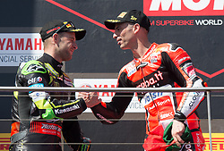 February 25, 2018 - Melbourne, Victoria, Australia - British rider Jonathan Rea (#1) of Kawasaki Racing Team (L) and Italian rider Marco Melandri (#33) of Aruba.it Racing - Ducati congratulate each other after finishing second and first respectively after the second race on day 3 of the opening round of the 2018 World Superbike season at the Phillip Island circuit in Phillip Island, Australia. (Credit Image: © Theo Karanikos via ZUMA Wire)