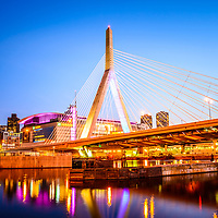 Boston Zakim Bridge at night photo. The Leonard P. Zakim Bunker Hill Memorial Bridge is a cable bridge that spans the Charles River in Boston, Massachusetts in the Eastern United States.