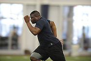 Former Ole Miss defensive lineman Lavon Hooks runs the 40-yard dash during Pro Day at the Manning Center, in Oxford, Miss. on Thursday, March 5, 2015.