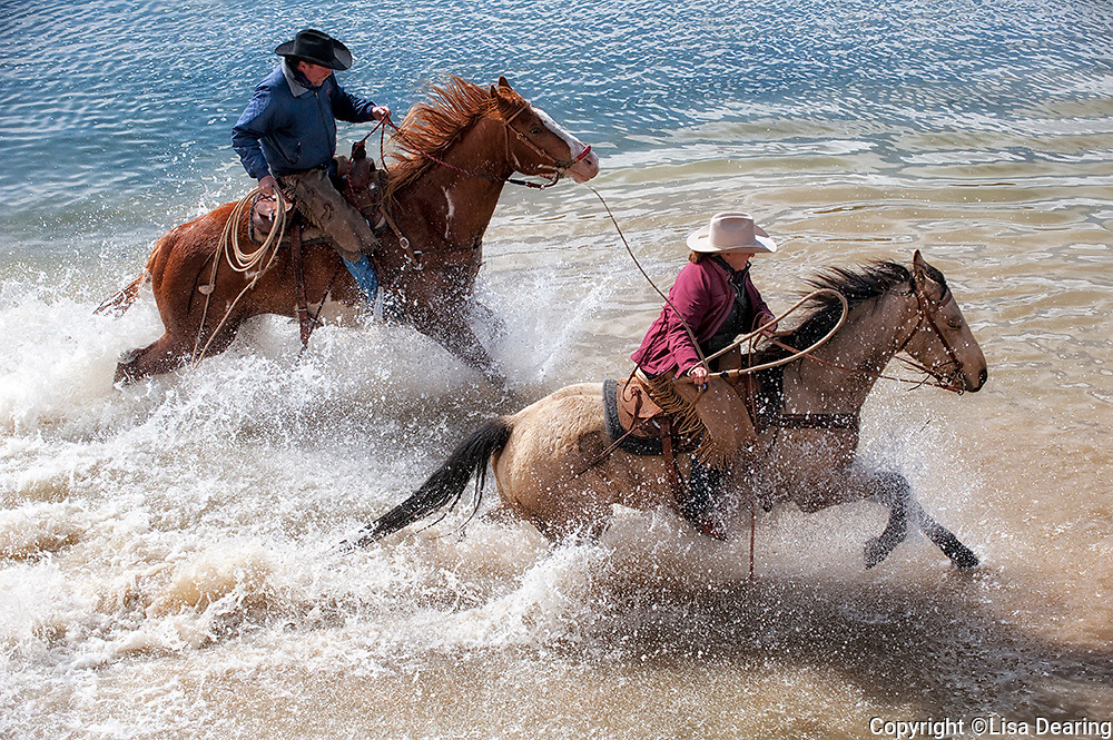 Two Wranglers on the Sombrero Ranch Running Horses in Water, Craig, Colorado