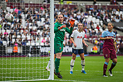 Courtney Brosnan (GK) (West Ham) looks over as the ball goes wide of the net during the FA Women's Super League match between West Ham United Women and Tottenham Hotspur Women at the London Stadium, London, England on 29 September 2019.