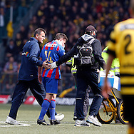 FC Basel midfielder Valentin Stocker is being escorted to the sideline by two staff members after being fouled by BSC Young Boys player Alberto Regazzoni (not pictured) during the Super League (National League A) soccer match between BSC Young Boys (YB) and FC Basel (FCB) at the Stade de Suisse stadium in Bern, Switzerland, Sunday, Mai 16, 2010. FC Basel have won the Swiss football championship beating Young Boys of Bern 2-0 in the last match of the season. (Photo by Patrick B. Kraemer / MAGICPBK)