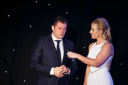 Bristol City Manager Steve Cotterill is interviewed on stage by Lisa Knights at Bristol Sport's Annual Gala Dinner at Ashton Gate Stadium - Mandatory byline: Rogan Thomson/JMP - 08/12/2015 - SPORT - Ashton Gate Stadium - Bristol, England.