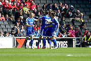 The Bees celebrate Sergi Canos equaliser during the Sky Bet Championship match between Milton Keynes Dons and Brentford at stadium:mk, Milton Keynes, England on 23 April 2016. Photo by Dennis Goodwin.