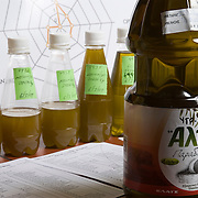 bottles of raw and processed olive oil for testing at the plants' laboratory