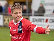 Thumbs up fra Jeppe Kjær (FC Helsingør) efter scoringen af sejrsmålet til 1-2 under kampen i 2. Division mellem Boldklubben Avarta og FC Helsingør den 10. november 2019 i Espelunden (Foto: Claus Birch).
