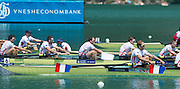 Aiguebelette, FRANCE  Bronze medallist, GBR M8+ left to right, Alan SINCLAIR, Nathaniel REILLY-O'DONNELL, Matt LANGRIDE, Peter REED and James FOAD at the 2014 FISA World Cup II. 14:23:43  Sunday  22/06/2014. [Mandatory Credit; Peter Spurrier/Intersport-images]