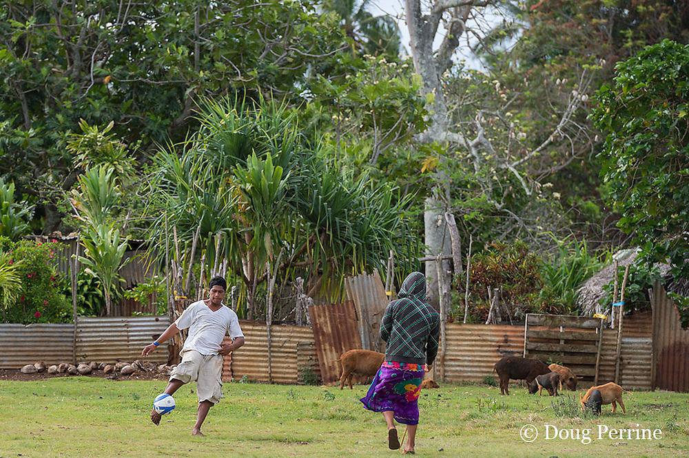 village boys practice soccer, Hunga Village, Hunga Island, Vava'u, Kingdom of Tonga, South Pacific