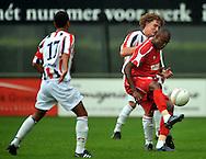 15-07-2008 VOETBAL:CSKA SOFIA - WILLEM II:TILBURG<br /> Claudinei Aparesio in duel met Arjan Swinkels<br /> Foto: Geert van Erven