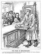 """The Baker of Berchtesgaden. [""""In order to meet the demands of war production, the public is advised to take greater care in chewing and digesting bread. Avoid swallowing large lumps."""" Koelnische Zeitung.] (Hitler as baker, serves up Promises, Hopes, Lies and Victory Propaganda to his hungry people queuing up at his bakery)"""