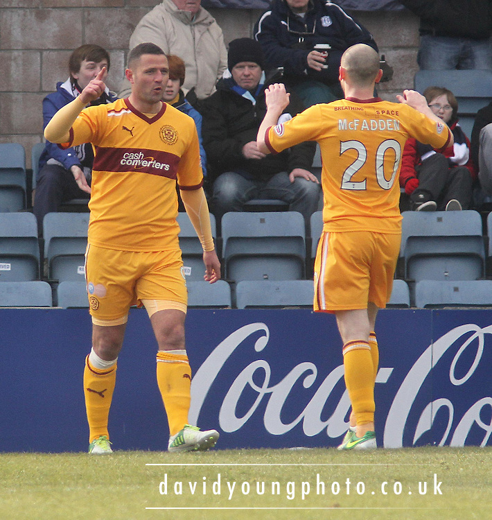 Michael Higdon celebrates his goal - Dundee v Motherwell in the Clydesdale Bank Scottish Premier League at Dens Park.. - © David Young - www.davidyoungphoto.co.uk - email: davidyoungphoto@gmail.com
