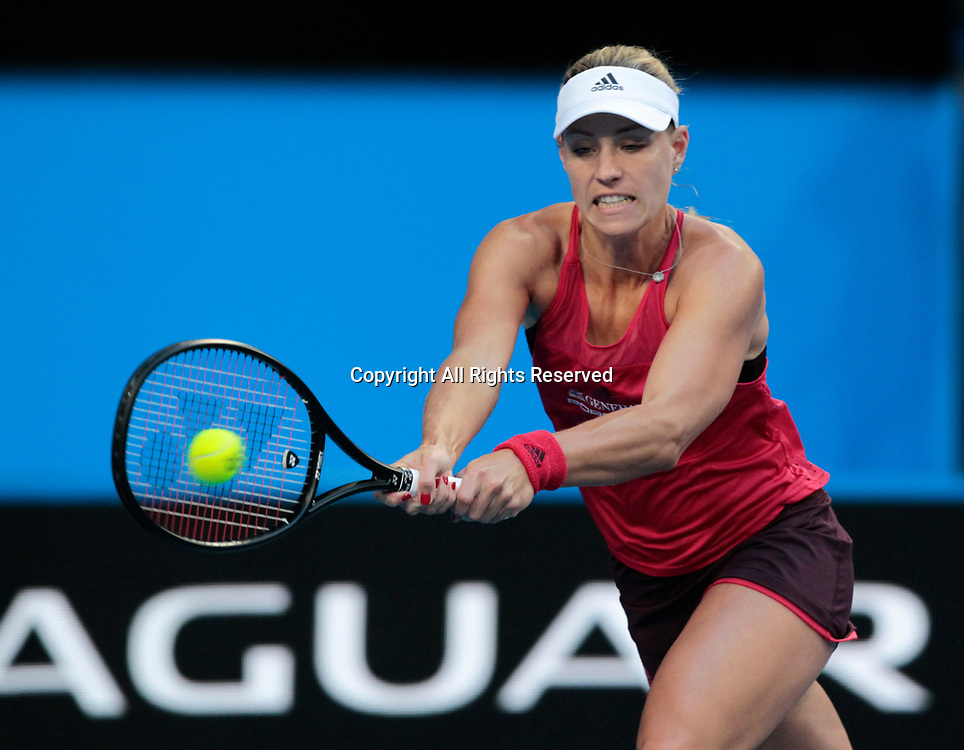 6th January 2018, Perth Arena, Perth, Australia; MasterCard Hopman Cup Tennis Final; Angelique Kerber of Team Germany lines up a plays a backhand shot against Belinda Bencic of Team Switzerland during the first set of the Final
