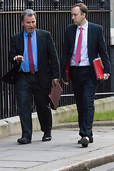 Downing Street, London, February 23rd 2016. Policy advisor Oliver Letwin (left) and Minister for the Cabinet Office Matthew Hancock arrive at the weekly cabinet meeting.  ©Paul Davey<br /> FOR LICENCING CONTACT: Paul Davey +44 (0) 7966 016 296 paul@pauldaveycreative.co.uk