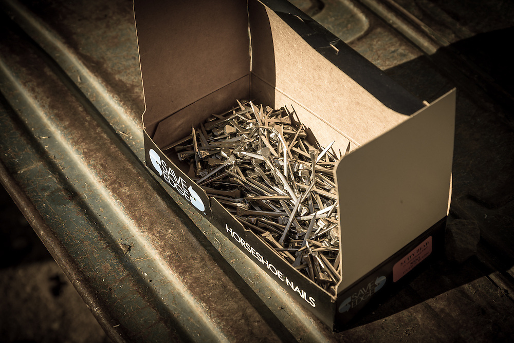 A box of horseshoe nails.
