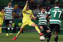 February 14, 2019 - Lisbon, Portugal - Villarreal's midfielder Pablo Fornals vies with Sporting's midfielder Bruno Fernandes from Portugal (R ) during the UEFA Europa League Round of 32 First Leg football match Sporting CP vs Villarreal CF at Alvalade stadium in Lisbon, Portugal on February 14, 2019. (Credit Image: © Pedro Fiuza/NurPhoto via ZUMA Press)