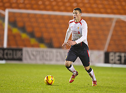 BLACKPOOL, ENGLAND - Wednesday, December 18, 2013: Liverpool's Lloyd Jones in action against Blackpool during the FA Youth Cup 3rd Round match at Bloomfield Road. (Pic by David Rawcliffe/Propaganda)