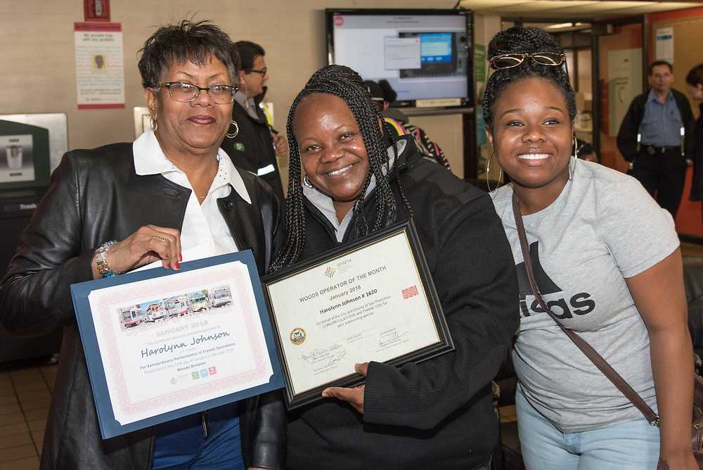 January Awardee Harolynn Johnson at Woods Division Systemwide Operator of the Month Ceremony | January 12, 2018