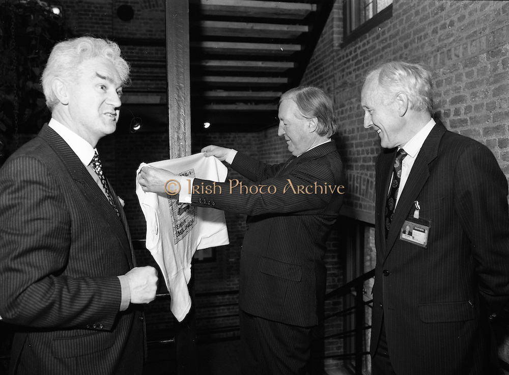 19/08/1988<br /> 08/19/1988<br /> 19 August 1988<br /> Taoiseach visits ROSC '88 at the Guinness Hop Store, Dublin. At the exhibit were: Pat Murphy ROSC Chairman (left);  Taoiseach Charles Haughey (centre) and Mr Brian Slowey, (right) Managing Director, Guinness, Ireland.