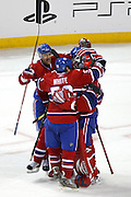 17 November 2009: Montreal Canadiens celebrate their win against Carolina Hurricanes after a shootout at the Bell Centre in Montreal, Quebec, Canada. Montreal Canadiens defeated Carolina Hurricanes 3-2.
