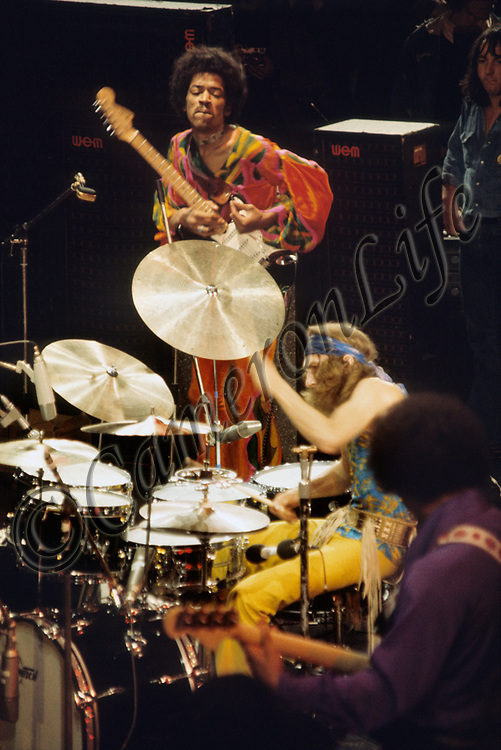 Jimi Hendrix, Mitch Mitchell and Billy Cox - 1970 Isle of Wight Music Festival (displayed as one of 28 images in the slideshow exhibit of Charles Everest's photographs at the V&A)