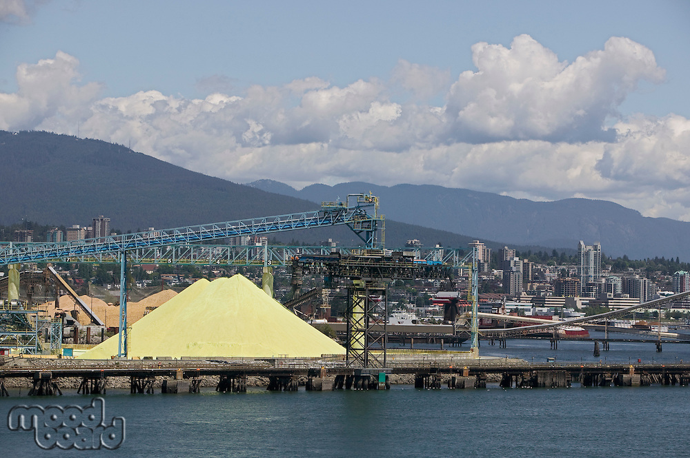 Crane and materials for transportation in Vancouver Harbour British Columbia