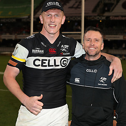 DURBAN, SOUTH AFRICA - SEPTEMBER 02: Jacques Vermeulen with Johan Pretorius Head Strength & Conditioning Coach of the Cell C Sharks during the Currie Cup match between Cell C Sharks and Toyota Free State Cheetahs at Growthpoint Kings Park on September 02, 2017 in Durban, South Africa. (Photo by Steve Haag/Gallo Images)