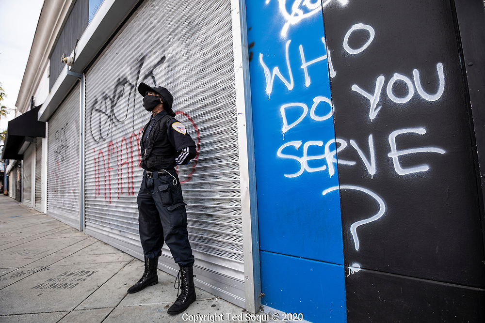 Fairfax Ave is cleaning up after a night of rioting and looting.<br /> Rioting and looting have ravaged the city over the past two days.<br /> 5/31/2020 Los Angeles, CA USA<br /> (Photo by Ted Soqui)