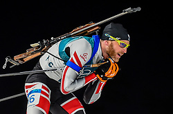 February 18, 2018 - Pyeongchang, Gangwon, South Korea - Simon Eder of Austria  competing in  15 km mass start biathlon at Alpensia Biathlon Centre, Pyeongchang,  South Korea on February 18, 2018. (Credit Image: © Ulrik Pedersen/NurPhoto via ZUMA Press)