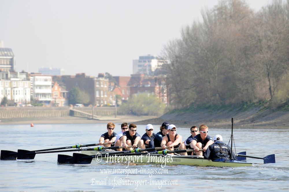 Putney. London. Tideway Week build up to the   2011 University Boat Race over parts of the Championship Course - Putney to Mortlake.  Thursday 24/03/2011  [Mandatory Credit; Karon Phillips/Intersport-images]..Crews:.CUBC. Bow Mike THORP, 2 Joel JENNINGS, 3 Dan- RIX STANDING, 4 Hardy CUBASCH, 5 George NASH, 6 Geoff ROTH, 7 Derek RASMUSSEN, Stroke David NELSON and Cox Liz BOX. ...OUBC. Bow Moritz HAFNER, 2 Ben MYERS, 3 Alec DENT, 4 Ben ELLISON, 5 Karl HUDSPITH, 6 Constantine LOULOUDIS, 7 George WHITTAKER, Stroke Simon HISLOP and Cox Sam WINTER-LEVY.... 2011 Tideway Week