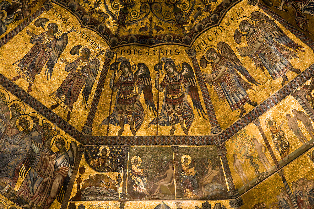 Telephoto detail of a band of archangels, cherubim, and serphim in the mosaics of the Florence Baptistry of St. John.