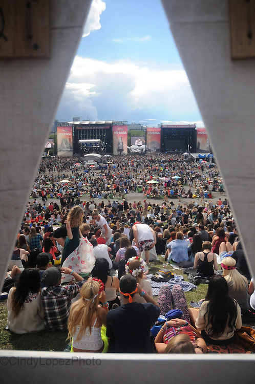 The top of Parc Jean Drapeau where a sold out crowd enjoys the view of the stages at Osheaga. (Cult MTL)
