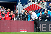 Manchester United Manager Jose Mourinho writes on note pad at side of pitch during the The FA Cup Semi Final match between Manchester United and Tottenham Hotspur at Wembley Stadium, London, England on 21 April 2018. Picture by Phil Duncan.