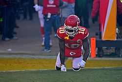 Jan 19, 2020; Kansas City, Missouri, USA; Kansas City Chiefs wide receiver Tyreek Hill (10) is introduced before the AFC Championship Game against the Tennessee Titans at Arrowhead Stadium. Mandatory Credit: Denny Medley-USA TODAY Sports