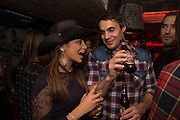 KATY WICKREMESINGE; ADAM BIDWELL; , The launch of Beaver Lodge in Chelsea, a cabin bar and dance saloon, 266 Fulham Rd. London. 4 December 2014