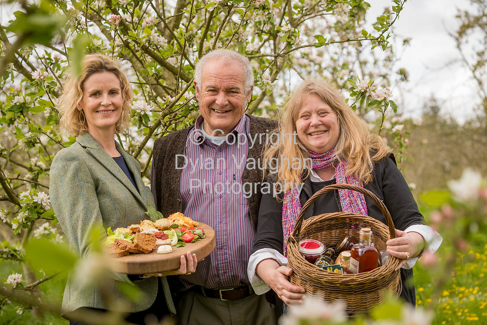 Repro Free No charge for Repro<br /> <br /> 24-4-17<br /> <br /> Helen Carroll of RTE&rsquo;s Ear to the Ground launched the next phase of #TasteKilkenny on Monday, 24th April at a lunch event at Highbank Orchards &amp; Distillery, Cuffesgrange, Co Kilkenny.<br /> <br /> Pictured at the launch were Helen Carroll of RTE&rsquo;s Ear to the Ground and Rod and Julie Calder-Potts, Highbank Orchards &amp; Distillery.<br />  <br /> An afternoon of tasting and presentations took place, including a welcome address by Cllr Matt Doran, Cathaoirleach and an update on the #TasteKilkenny initiative by Fiona Deegan. Followed by the official launch of the #TasteKilkenny website and videos.<br />  <br /> #TasteKilkenny was established as a collective of Kilkenny based producers and outlets to promote the vibrant food scene in Kilkenny and create a platform to showcase the very best of local food production. For more information see: www.TasteKilkenny.ie.<br /> <br /> Picture Dylan Vaughan.