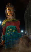 25/10/2015  Macnas parade on the streets of Galway.<br />  &lsquo;The Shadow Lighter&rsquo; featured the new Macnas character of Danu &ndash; a 15 ft high wild woman, the shadow lighter mistress of old stories, magic and medicine. Alongside her walked Danu&rsquo;s spirit animal, The Wolf of Danu, a beautiful, strong and fierce wolf, circling around Danu to protect her.  <br /> <br /> DUBLIN MONDAY NIGHT.<br /> Macnas will close the Bram Stoker Festival at twilight on Monday 26th October. In what is set to be another breath-taking citywide procession, Dublin&rsquo;s city streets will transform as the journey of Danu takes place, beginning in 3 city centre locations at 5.30pm with a final gathering in Wolfe Tone Square. This is a deadly adventure given life on the streets of Dublin.  Procession routes will be available to see and download from bramstokerfestival.com .Photo:Andrew Downes, xposure