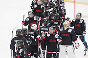 The team of Japan celebrates the victory at the end of the third period during the Nagano Olympics Paralympics 20th Anniversary Games at Nagano on Monday, December 25, 2017. 25/12/2017-Nagano, JAPAN.