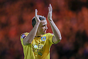 Burnley defender Michael Duff applauds the fans during the Sky Bet Championship match between Middlesbrough and Burnley at the Riverside Stadium, Middlesbrough, England on 15 December 2015. Photo by Simon Davies.