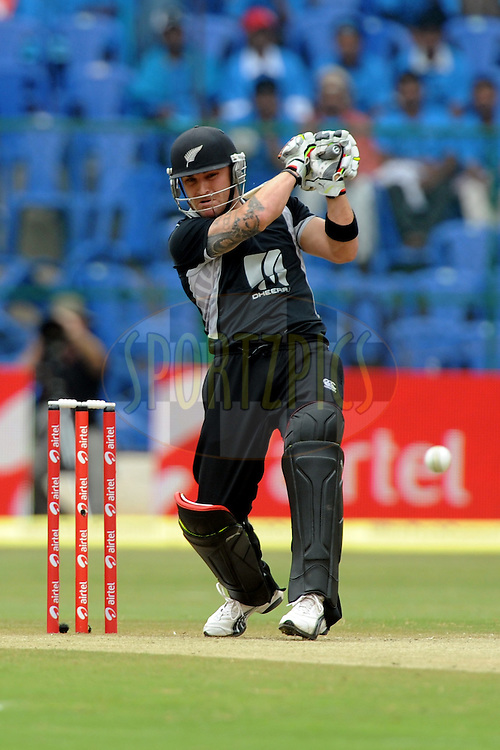 Brendon McCullum of New Zealand bats during the 4th ODI ( One day international ) between  India and New Zealand held at the M Chinnaswamy Stadium in Bengaluru, Bangalore, Karnataka, India on the 7 th December 2010..Photo by Pal Pillai/BCCI/SPORTZPICS