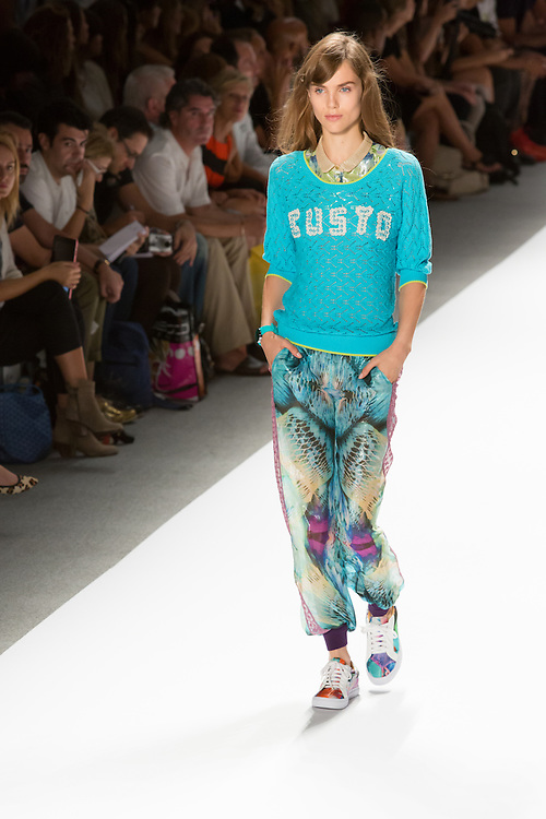 Print pants with elastic cuffed hems, prnt top with Peter Pan collar, and aqua lace sweater. By Custo Barcelona at the Spring 2013 Fashion Week show in New York.
