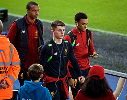 SWANSEA, WALES - Monday, January 22, 2018: Liverpool's Joel Matip, Ben Woodburn and Trent Alexander-Arnold before the FA Premier League match between Swansea City FC and Liverpool FC at the Liberty Stadium. (Pic by David Rawcliffe/Propaganda)