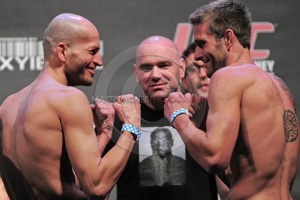 "SYDNEY, AUSTRALIA, FEBRUARY 26, 2011: Maciej Jewtuszko (left) faces off against opponent Curt Warburton during the weigh-in for ""UFC 127: Penn vs. Fitch"" inside Acer Arena in Sydney, Australia on February 26, 2011"