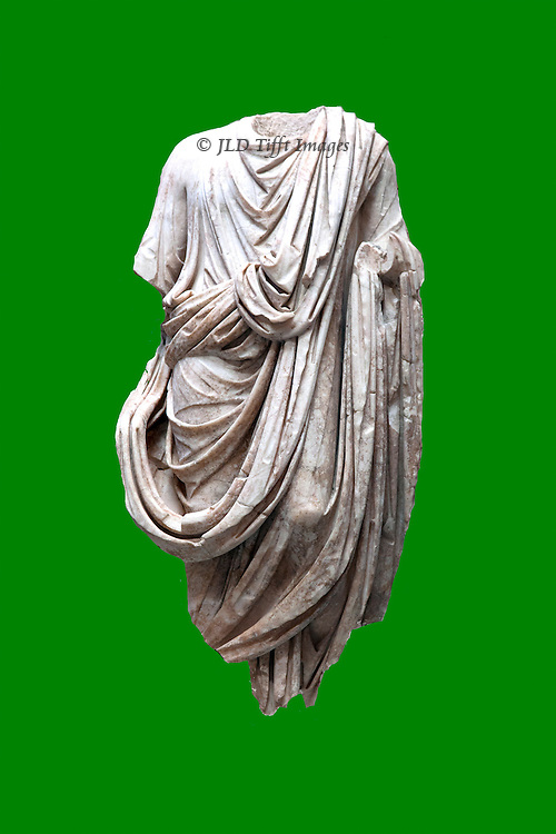 Cutout of a torse from an ancient roman statue draped richly in a toga, placed on a plain green background as an illustration.