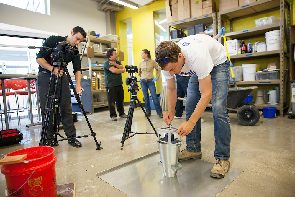Valparaiso Unviersity civil engineering students help to stage an American Society for Testing and Materials video shoot.  The videos will be shown worldwide for training people on concrete standards.
