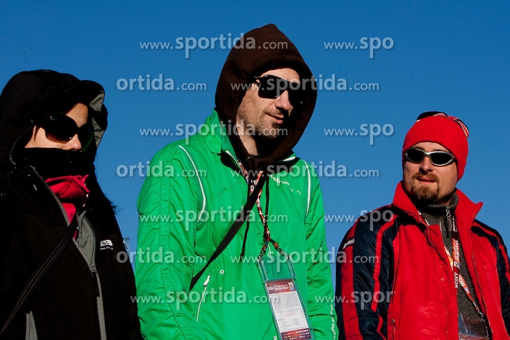 Journalists of Slovenia Jasmina Habjanic of RTS, Tine Zupan of Zurnal and Rok Plestenjak of Siol Sportal during a training session at  Hyde Park High School Stadium on June 16, 2010 in Johannesburg, South Africa.  (Photo by Vid Ponikvar / Sportida)